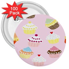 Cupcakes Wallpaper Paper Background 3  Buttons (100 Pack)