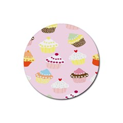 Cupcakes Wallpaper Paper Background Rubber Round Coaster (4 Pack)
