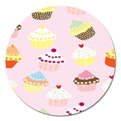 Cupcakes Wallpaper Paper Background Magnet 5  (round)