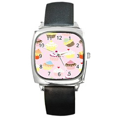 Cupcakes Wallpaper Paper Background Square Metal Watch