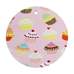 Cupcakes Wallpaper Paper Background Round Ornament (two Sides)
