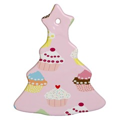 Cupcakes Wallpaper Paper Background Christmas Tree Ornament (two Sides)