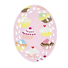 Cupcakes Wallpaper Paper Background Oval Filigree Ornament (two Sides)