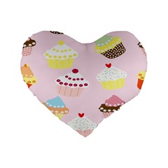 Cupcakes Wallpaper Paper Background Standard 16  Premium Heart Shape Cushions