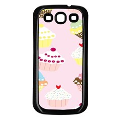 Cupcakes Wallpaper Paper Background Samsung Galaxy S3 Back Case (black)