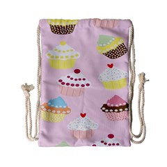 Cupcakes Wallpaper Paper Background Drawstring Bag (small)