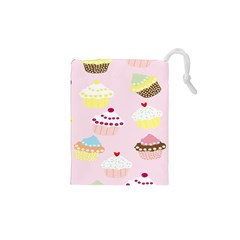 Cupcakes Wallpaper Paper Background Drawstring Pouches (xs)