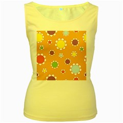 Floral Flowers Retro 1960s 60s Women s Yellow Tank Top