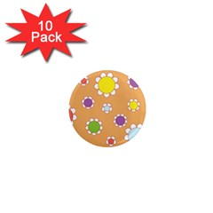 Floral Flowers Retro 1960s 60s 1  Mini Magnet (10 Pack)