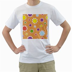 Floral Flowers Retro 1960s 60s Men s T Shirt (white) (two Sided)