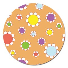 Floral Flowers Retro 1960s 60s Magnet 5  (round)