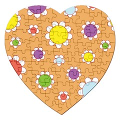 Floral Flowers Retro 1960s 60s Jigsaw Puzzle (heart)