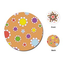 Floral Flowers Retro 1960s 60s Playing Cards (round)