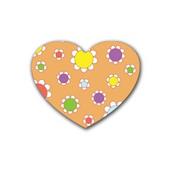 Floral Flowers Retro 1960s 60s Rubber Coaster (heart)