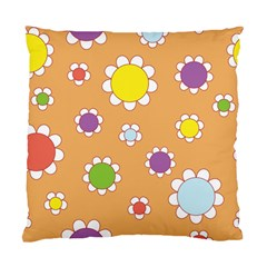 Floral Flowers Retro 1960s 60s Standard Cushion Case (one Side)