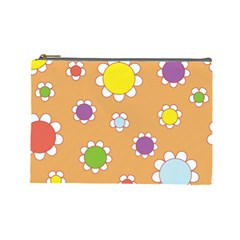 Floral Flowers Retro 1960s 60s Cosmetic Bag (large)