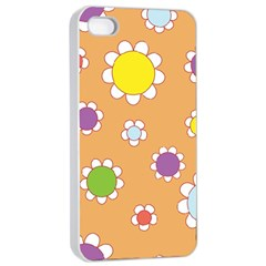 Floral Flowers Retro 1960s 60s Apple Iphone 4/4s Seamless Case (white)