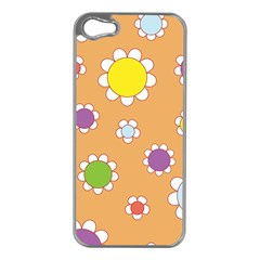 Floral Flowers Retro 1960s 60s Apple Iphone 5 Case (silver)