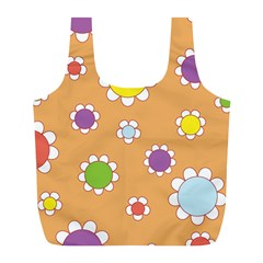 Floral Flowers Retro 1960s 60s Full Print Recycle Bags (l)