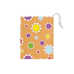 Floral Flowers Retro 1960s 60s Drawstring Pouches (small)