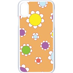 Floral Flowers Retro 1960s 60s Apple Iphone X Seamless Case (white)