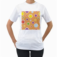 Floral Flowers Retro 1960s 60s Women s T Shirt (white) (two Sided)