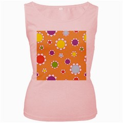 Floral Flowers Retro 1960s 60s Women s Pink Tank Top