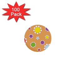 Floral Flowers Retro 1960s 60s 1  Mini Buttons (100 Pack)