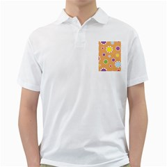 Floral Flowers Retro 1960s 60s Golf Shirts
