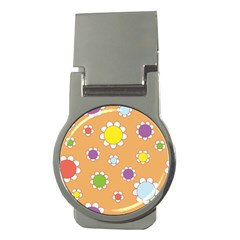 Floral Flowers Retro 1960s 60s Money Clips (round)