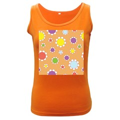 Floral Flowers Retro 1960s 60s Women s Dark Tank Top