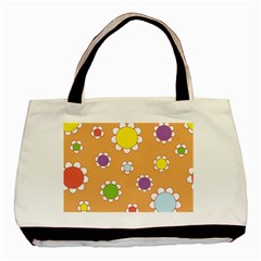Floral Flowers Retro 1960s 60s Basic Tote Bag (two Sides)