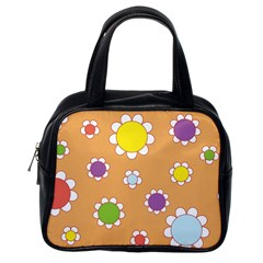 Floral Flowers Retro 1960s 60s Classic Handbags (one Side)