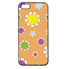 Floral Flowers Retro 1960s 60s Apple Iphone 5 Seamless Case (black)
