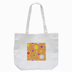 Floral Flowers Retro 1960s 60s Tote Bag (white)