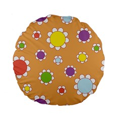Floral Flowers Retro 1960s 60s Standard 15  Premium Flano Round Cushions