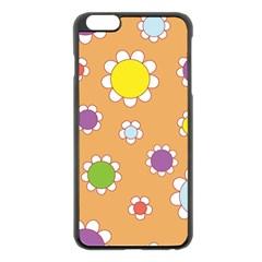 Floral Flowers Retro 1960s 60s Apple Iphone 6 Plus/6s Plus Black Enamel Case