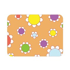Floral Flowers Retro 1960s 60s Double Sided Flano Blanket (mini)