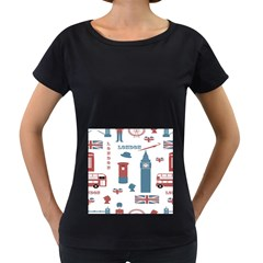 London Icons Symbols Landmark Women s Loose Fit T Shirt (black)