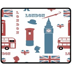 London Icons Symbols Landmark Double Sided Fleece Blanket (medium)