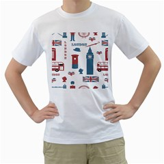 London Icons Symbols Landmark Men s T Shirt (white)