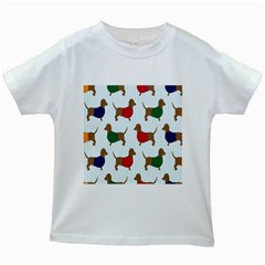 Dachshund Dog Cartoon Art Kids White T Shirts