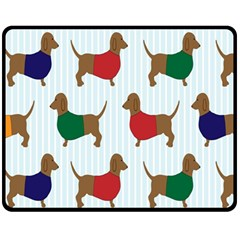 Dachshund Dog Cartoon Art Fleece Blanket (medium)