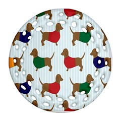 Dachshund Dog Cartoon Art Ornament (round Filigree)