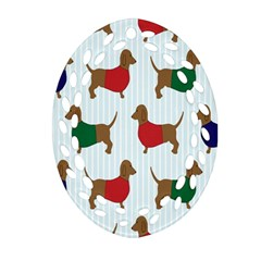 Dachshund Dog Cartoon Art Oval Filigree Ornament (two Sides)