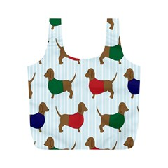 Dachshund Dog Cartoon Art Full Print Recycle Bags (m)