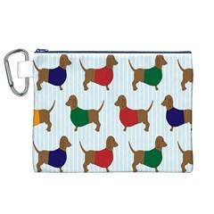Dachshund Dog Cartoon Art Canvas Cosmetic Bag (xl)
