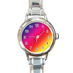 Spectrum Background Rainbow Color Round Italian Charm Watch