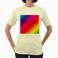 Spectrum Background Rainbow Color Women s Yellow T Shirt