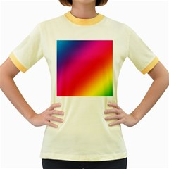 Spectrum Background Rainbow Color Women s Fitted Ringer T Shirts